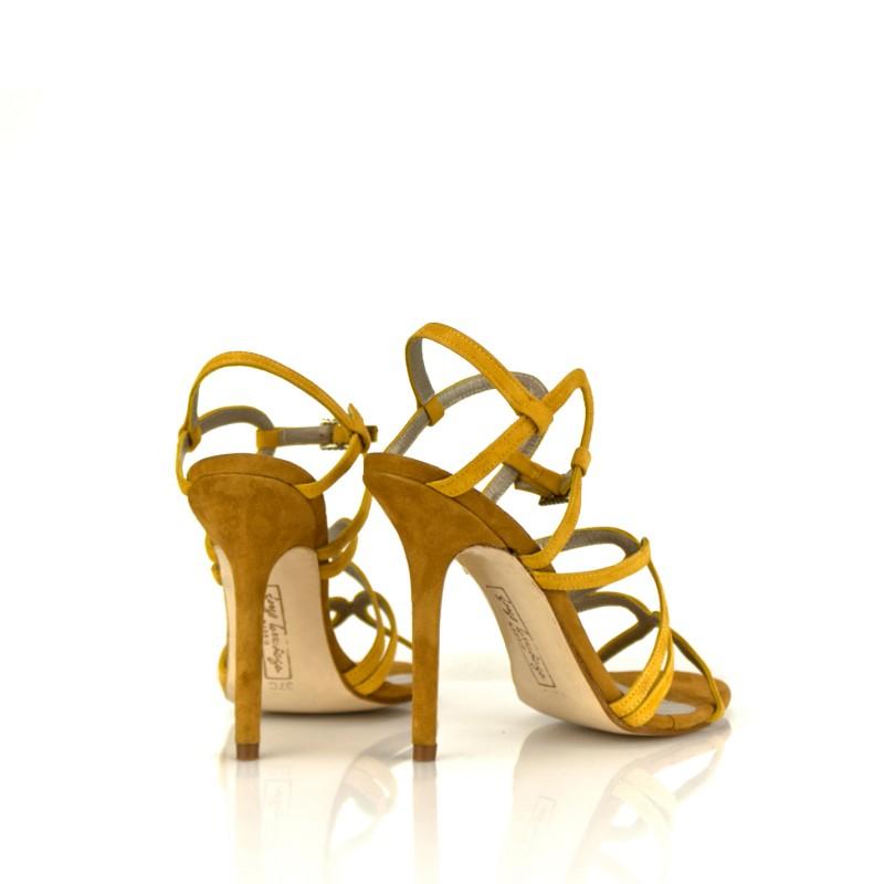 sandalias elegantes amarillas con tacon de 9 cm