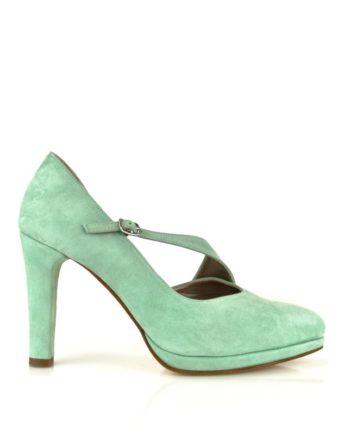 Zapatos salon en ante verde aguamarina con plataforma y tacon 9 cm