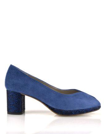 zapatos mujer peeptoes ante azul tacon 6 cm y plataforma strass