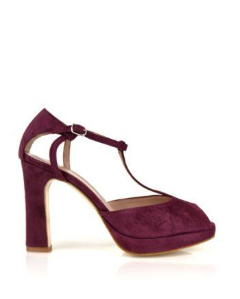 zapatos peeptoes en ante rojo rioja con tacon de 9 cm