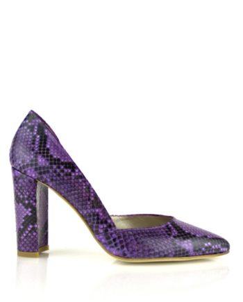 zapatos salon stilettos piton rojo o violeta con tacon de 8 cm ancho o fino