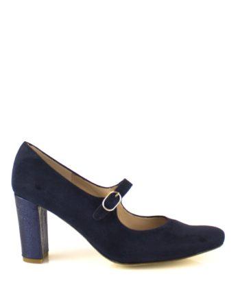zapatos salon azules en ante y tacon piel metalizada 8 cm