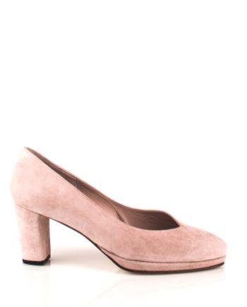 zapatos salon de mujer en ante rosa molokai con plataforma y tacón ancho de 6 cm