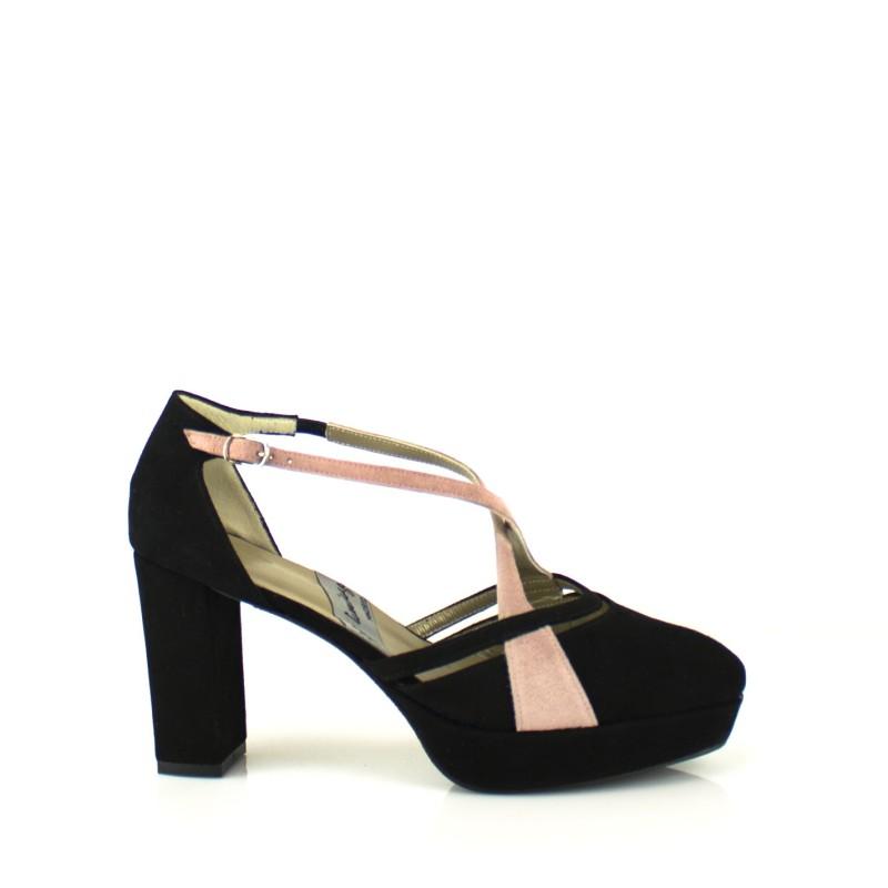 zapatos salon negros de novia con plataforma y tacon ancho 8 cm