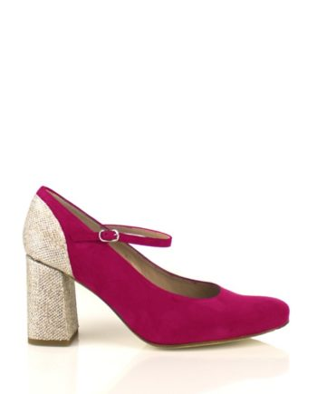 zapatos salon de mujer de novia color vino con tacon ancho glitter 8 cm