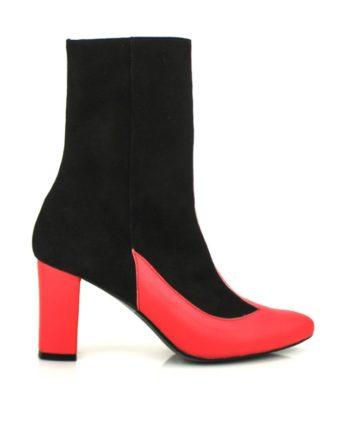 botas negras en ante y piel coral tacon ancho cuadrado 8 cm