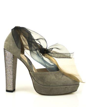 zapatos de novia ante marron topo taconazo glitter y gasa tobillera