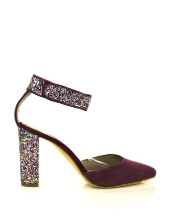 zapatos de fiesta en ante rioja rojo y tacon ancho de 8 cm en glitter