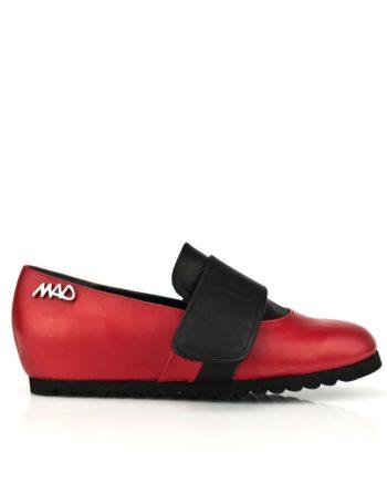 Zapatos unisex niños y adultos en piel color rojo y negro cierre belcro suela goma color cuero