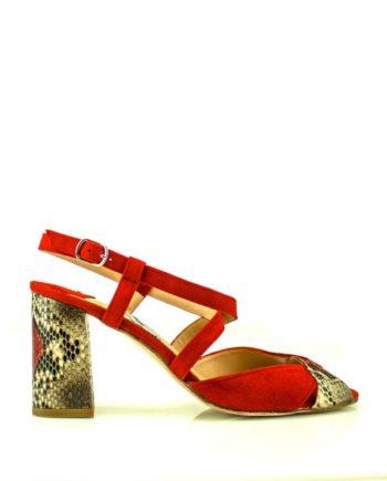 sandalias de mujer rojas de ante y piton con tacon ancho de 7 cm